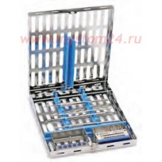 Кассета для 10 инструментов, силиконовая вставка, двойной замок, отделение для боксов